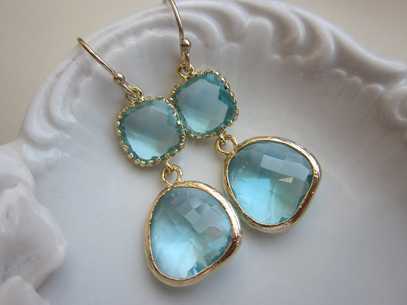 aquamarine earrings gold