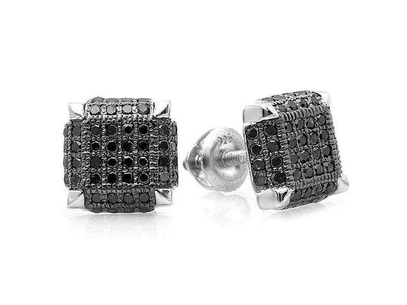 black diamond earrings men
