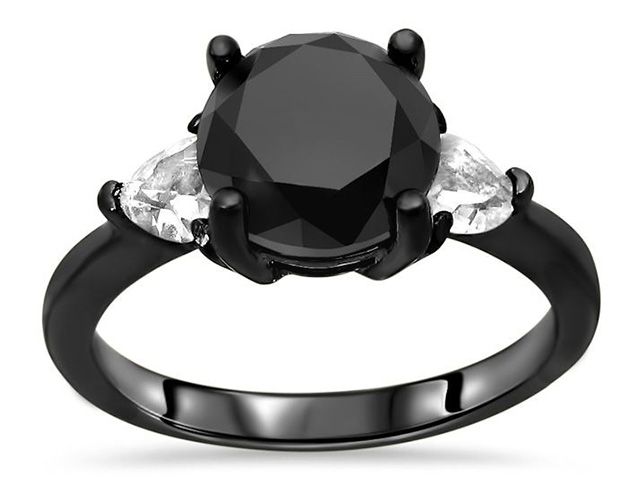 black gold and black diamond rings