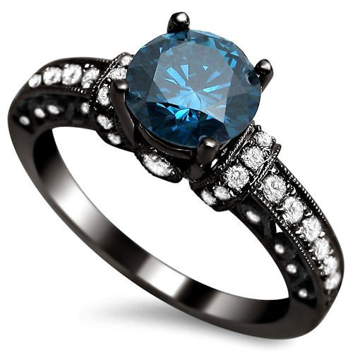 blue and black diamond rings