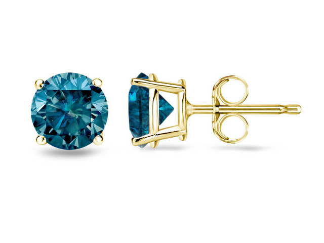 Men Blue Diamond Stud Earrings