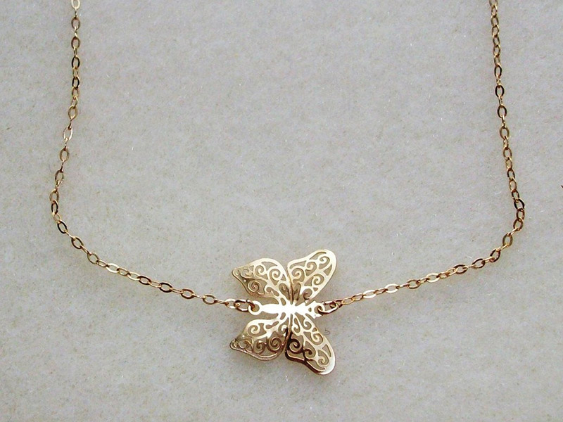 butterfly necklace gold