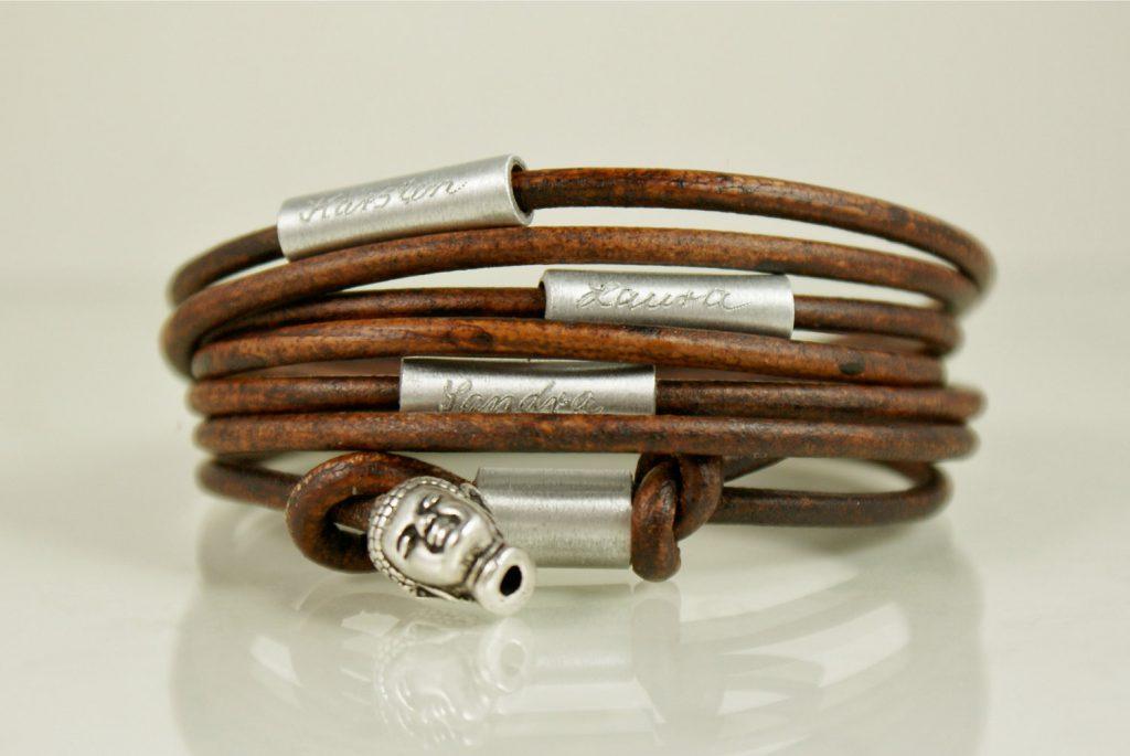 engraved leather bracelets