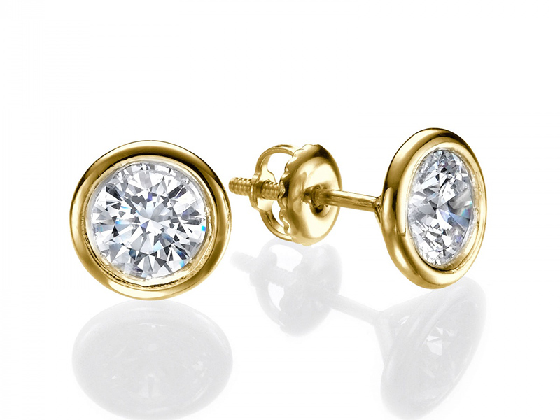 four union y diamond earrings stud prong gold yellow
