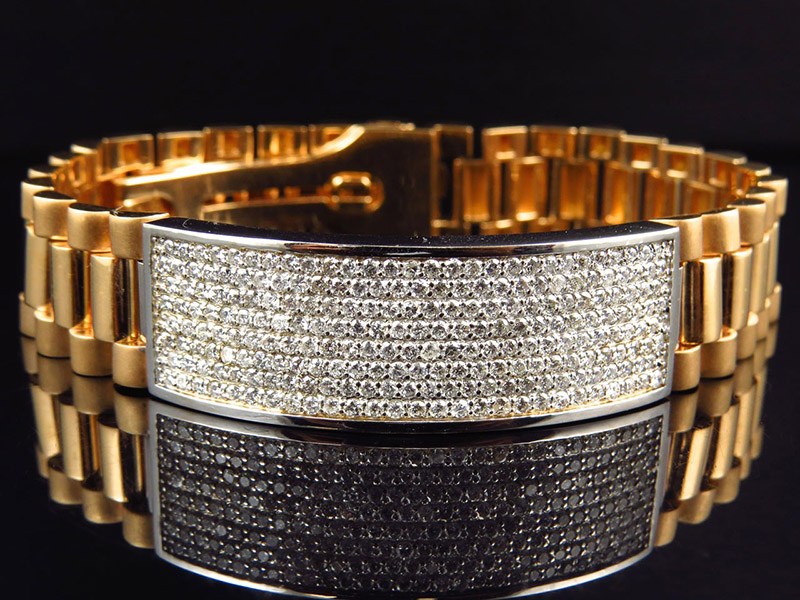 men's gold bracelets with diamonds