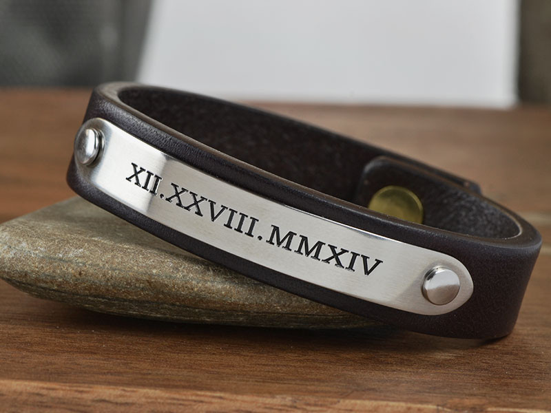 men's leather bracelets engraved
