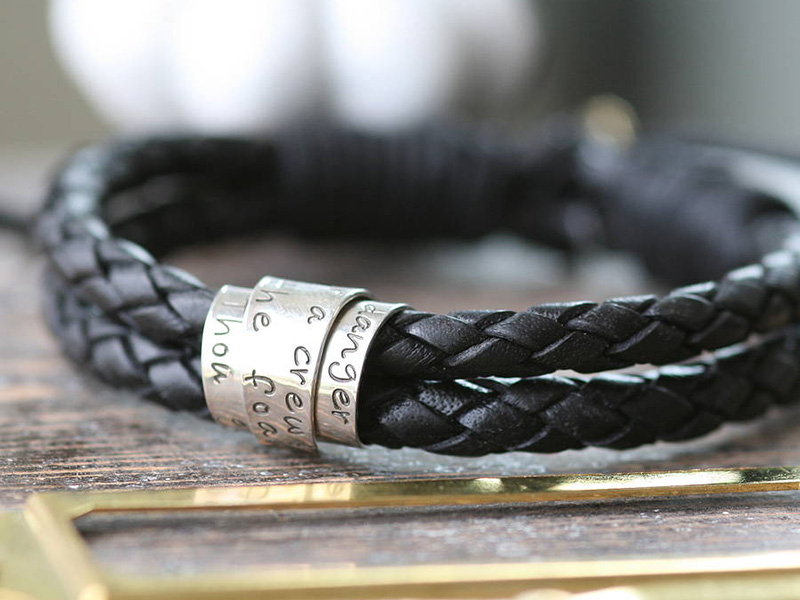 men's leather bracelets personalized