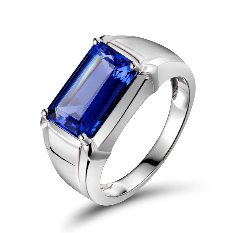 cut men gold wedding item emerald tanzanite solid white blue cool ring mens perfect natural s