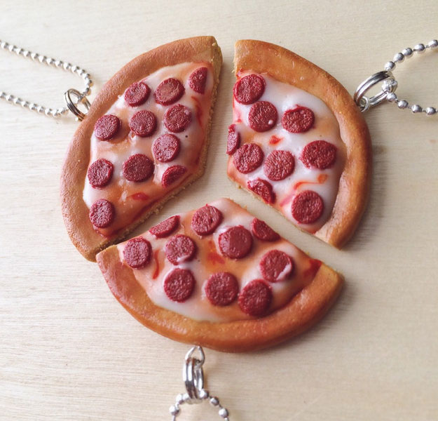 pizza friendship necklaces