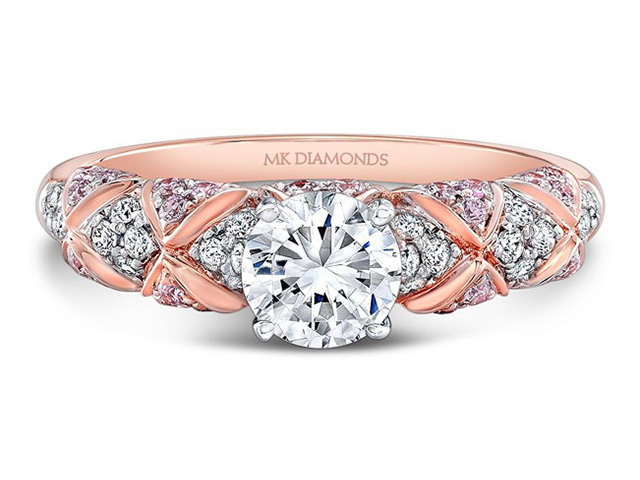 rose and sparkling the light diamond engagement rings gold pink