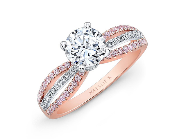 rose gold pink diamond engagement rings