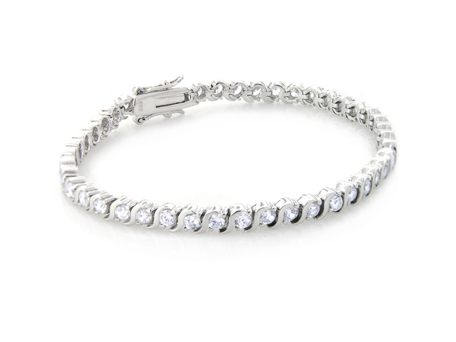 silver diamond tennis bracelet