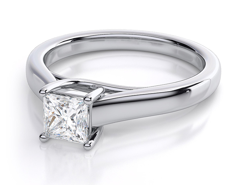 solitaire princess cut engagement rings