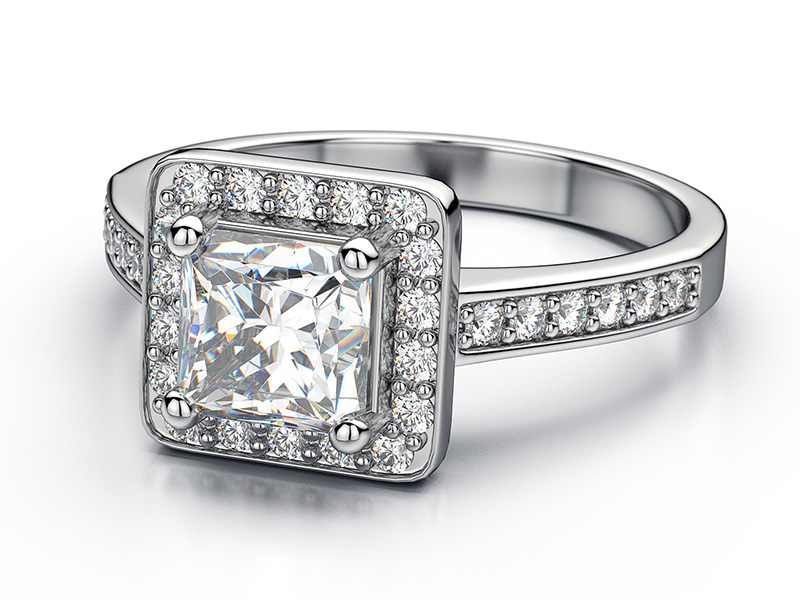 vintage princess cut engagement rings