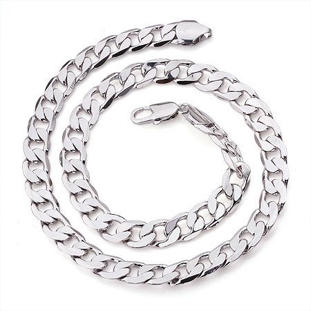 white gold necklace men's