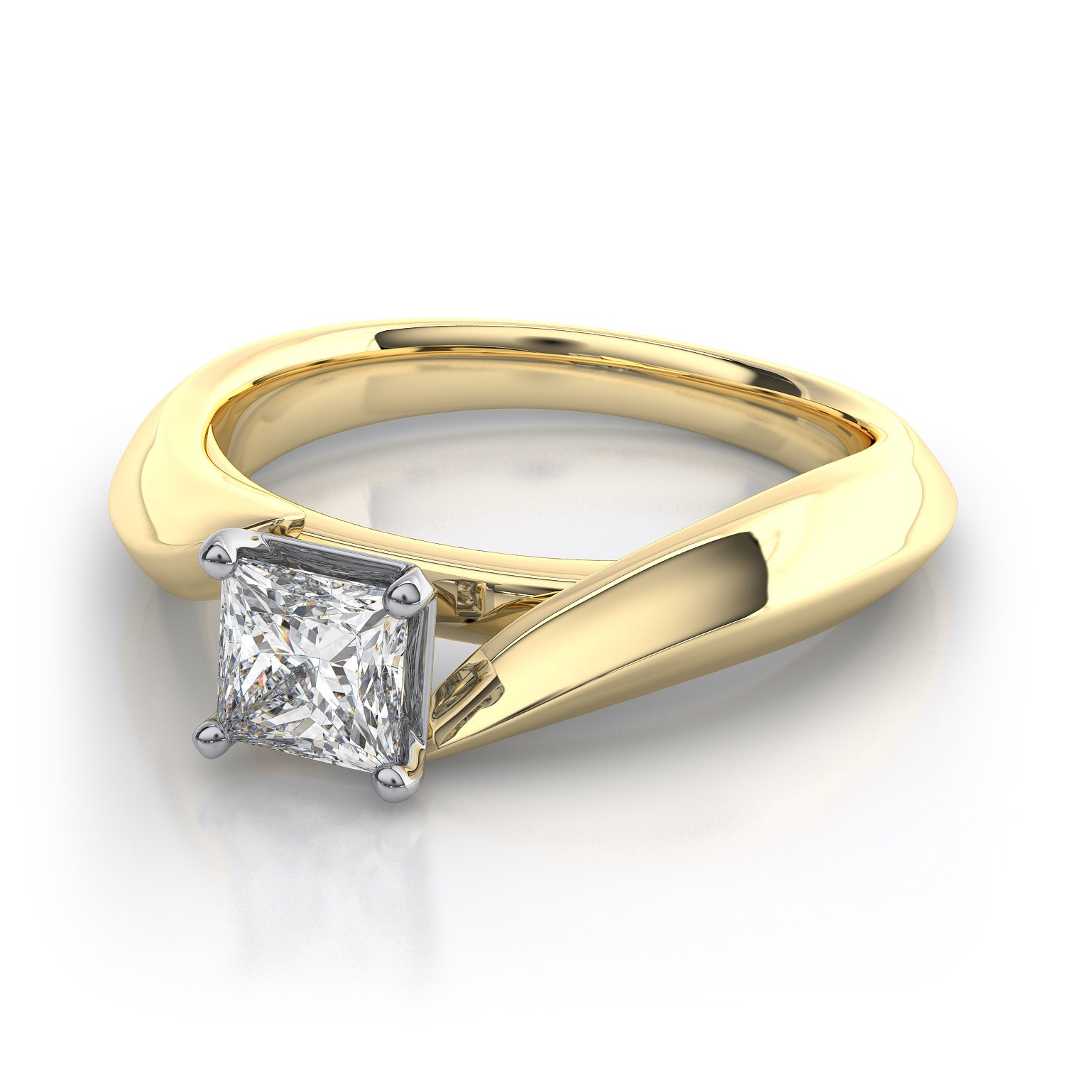 yellow gold princess cut engagement rings