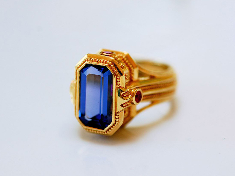 yellow gold tanzanite rings