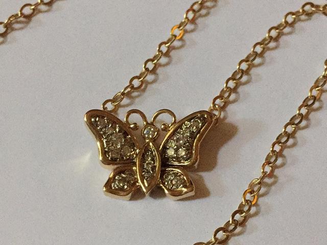 14k gold butterfly necklace