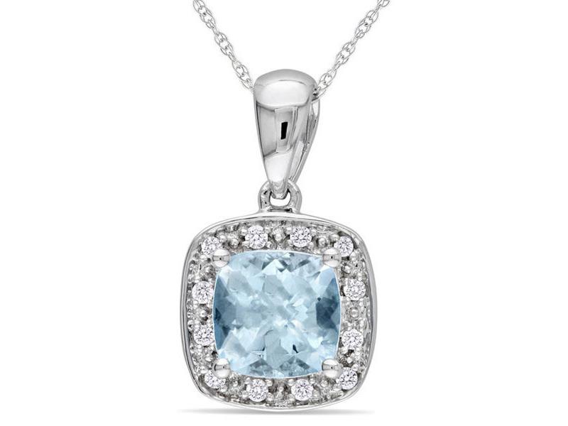 aquamarine necklace white gold
