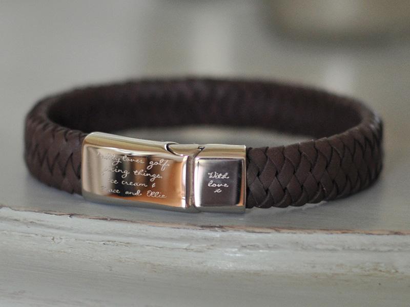 personalized men's leather bracelets