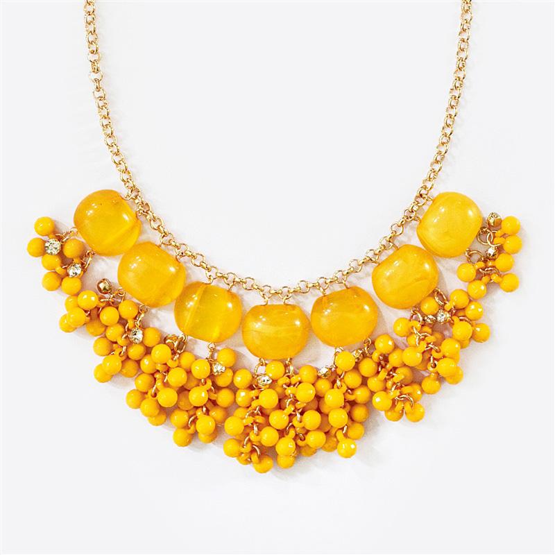 yellow bib necklace