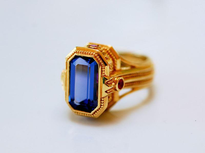 yellow gold tanzanite rings